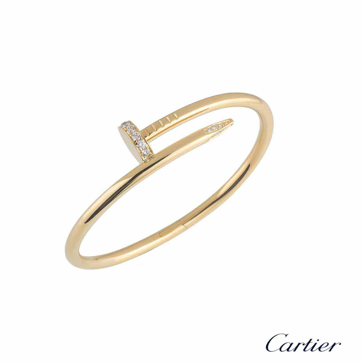 Cartier Yellow Gold Diamond Juste Un Clou Bracelet Size 17 B6048617